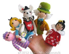 Ravelry: Alice in Wonderland Finger Puppets pattern by Loly Fuertes