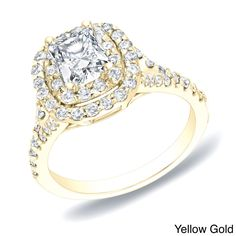 Cushion-cut white diamond engagement ring14-karat gold jewelryClick here for ring sizing guide