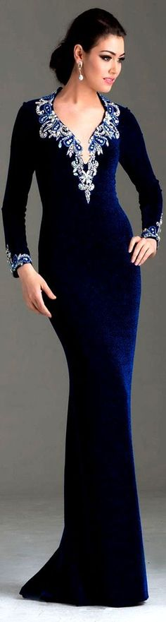 Long Sleeve Blue Velvet Evening Gown Velvet Fashion ✯‿🖤⁀✯Great Style for a conservative Mother of the Bride Dress Elegant Dresses, Pretty Dresses, Formal Dresses, Velvet Evening Gown, Evening Dresses, Beautiful Gowns, Beautiful Outfits, Velvet Fashion, Special Occasion Dresses