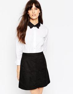 ASOS Contrast Collar Scallop Shirt