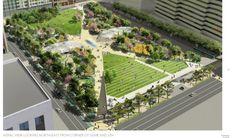 pershing square park renovation - Google Search Landscape Architecture Design, School Architecture, Facade Design, Roof Design, Mall Facade, Global Design, Design Competitions, Showcase Design, Sustainable Design