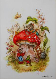LORE HUMMEL - Maus malt Fliegenpilz PILZ an, Frosch schaut zu - | eBay