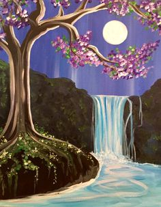 Purple pink flowering tree with waterfall and moon set.