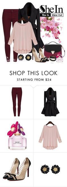 """""""SHEIN Contest: Pink Round Neck Loose Sweater"""" by paisleywest ❤ liked on Polyvore featuring Marc Jacobs"""