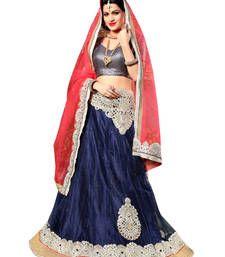 Buy Navy blue and pink net embroidered unstitched lehenga choli lehenga-choli online