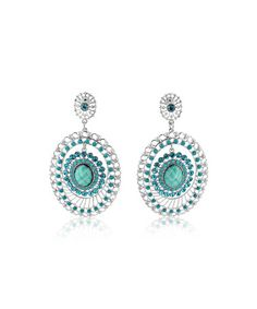 Look at this #zulilyfind! Green & Blue Oval Medallion Drop Earrings #zulilyfinds
