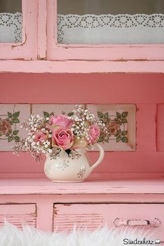 Shabby Chic Pink Furniture with Pink Roses and Baby's Breath Flowers in a Tea Pot with cream in Tiles