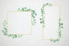 Watercolor Eucalyptus  Wreath Clip art. Gold geometric frame | Etsy