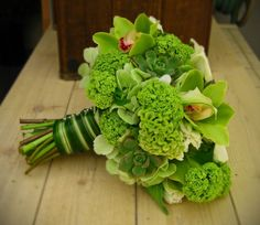 Green flowers..... celosia, cymbidium, calla lilly, viburnum, green hydrangea