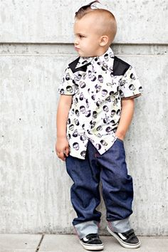 Take a look at this Black Rockabilly Plaid Skull Button-Up - Infant, Toddler & Boys by Knuckleheads on today! Rockabilly Baby, Rockabilly Fashion, Rockabilly Style, Rockabilly Clothing, Fashion Kids, Retro Fashion, Fashion Design, Toddler Boys, Baby Kids