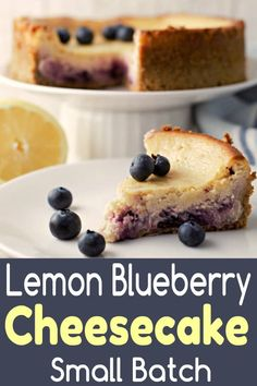 This gorgeous Lemon Blueberry Cheesecake is creamy, rich, and decadent with a sweet blueberry swirl and buttery graham crust. This small batch dessert for two recipe makes just 4 large slices or 6 small slices. Lemon Blueberry Cheesecake, Blueberry Desserts, Köstliche Desserts, Cheesecake Recipes, Dessert Recipes, Summer Desserts, Breakfast Recipes, Dinner Recipes, Small Batch Baking