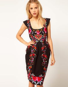 {ASOS Wiggle Dress With Exaggerated Hips And Embroidery}