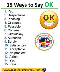 Different Ways to Say NO in English Yep Respectable Pleasing Of course Passable Confirm Okeydokey Authorize Surely Satisfactory Acceptable No problem Alright Yes Pass English Learning Spoken, Teaching English Grammar, English Writing Skills, Book Writing Tips, English Language Learning, Writing Words, English Lessons, English English, Spanish Language