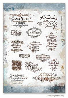 © Stempelglede® Just a Note. Unmounted Rubber Stamp Sheet.   http://www.stempelglede.com/stemplerjustanote_en.html