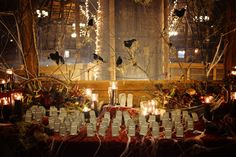 Halloween seating chart - photo by Birke Photography http://ruffledblog.com/enchanted-forest-halloween-wedding