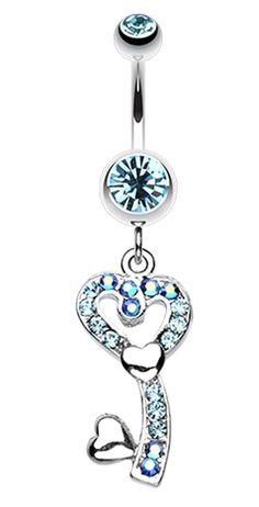 My Heart's Key Belly Button Ring #BellyRing #Heart #HeartBellyRing #BodyMod #BodyModification #Piercings