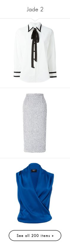 """""""Jade 2"""" by brelea-1 ❤ liked on Polyvore featuring tops, white top, marc jacobs, marc jacobs top, skirts, midi, white, striped skirt, calf length pencil skirts and stretch pencil skirt"""