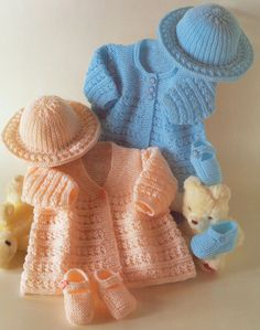 """Vintage Baby Matinee Coats Hat & Shoes Knitting Pattern 14"""" - 18"""" Very Cute !   eBay"""