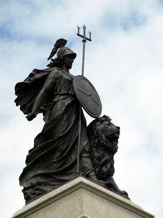 The Statue of Britannia in Plymouth. Britannia is a national personification of the UK. Statues, Corinthian Helmet, Statue Tattoo, Elizabethan Era, Rule Britannia, National Symbols, Kingdom Of Great Britain, American Revolution, British History
