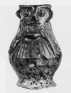 Small Kingston-type Ware face jug in the British Museum. Dated 1270-1310. ID no. 1855,1029.11. Height: 11.5 centimetres; Width: 8.7 centimetres