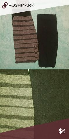 Leggings bundle 2 pair leggings: one is grey and black striped with wide elastic band second pair is black with pattern. Both are size L/XL Pants Leggings