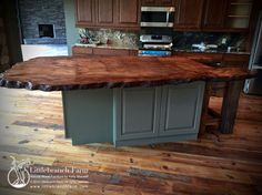 Slab wood countertop - I love these wood slab counters! So rich and unique!