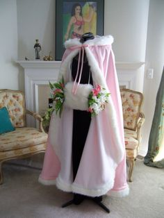 Cinderella Bridal cape 52- inch Pink / White Satin wedding cloak with fur trim Handmade in USA