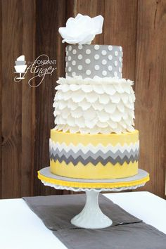 Yellow and gray cake by Fondant Flinger