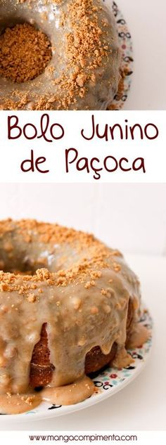 Bolo Junino de Paçoca, para alegrar qualquer festinha de arraial! #receita #bolo #comida #doce #paçoca #festajunina