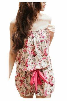 CA Fashion Trendy Strapless Women's Romper Pant Flower Jumpsuit (White)