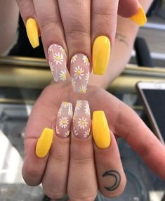 nails – yellow daisy floral coffin acrylic Nails in 2019 See More Idea - Matte Nail Polish Cute Spring Nails, Spring Nail Art, Cute Nails, Yellow Nails Design, Yellow Nail Art, Color Yellow, Bright Yellow, Summer Acrylic Nails, Best Acrylic Nails