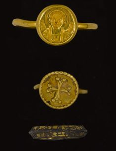 Two Byzantine gold finger rings  Circa 6th-7th Century A.D.