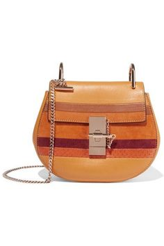 Camel and brown leather, orange and burgundy suede, bright-orange watersnake Pin and clasp-fastening front flap Designer color: Sunflower Yellow Comes with dust bag Watersnake: Indonesia Made in Italy