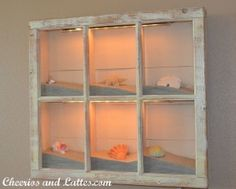 Beach Shadow Box (Source Unknown) old window frame + sand + shells and other accents + lights You can find lots of window frames at Habitat for Humanity for really cheap. Beach House Decor, Diy Home Decor, Room Decor, Beach Wall Decor, Seashell Shadow Boxes, Beach Shadow Boxes, Seashell Frame, Starfish, Seashell Display
