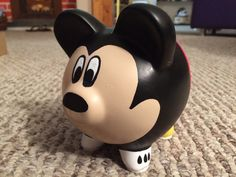 Disney Mickey Mouse Hand Painted Ceramic Piggy Bank by KaleyCrafts Pottery Painting, Ceramic Painting, Bowling Ball Crafts, Miki Mouse, Pig Bank, Color Me Mine, Toddler Themes, Martha Stewart Crafts, Cute Piggies