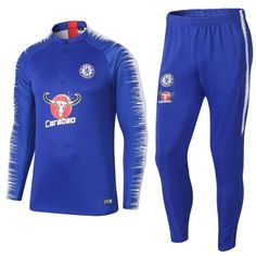 Chelsea Tracksuits Blue Sweat Shirt and Pants 2018-19 cheap football training  kits 18  6ff82d3b0