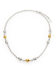 GURHAN - Curve Sterling Silver & 24K Yellow Gold Cocoon Necklace