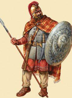 Dacian warrior with Illyrian helmet.