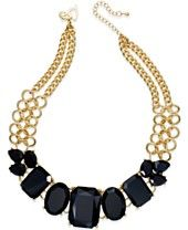 Thalia Sodi Gold-Tone Jet Stone Frontal Necklace, Only at Macy's