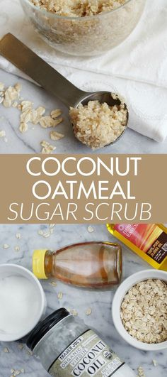 Coconut Oatmeal Sugar Scrub made with only a few, simple ingredients! I bet you even have these ingredients in your kitchen!DIY Coconut Oatmeal Sugar Scrub made with only a few, simple ingredients! I bet you even have these ingredients in your kitchen! Body Scrub Recipe, Diy Body Scrub, Sugar Scrub Recipe, Sugar Scrub Diy, Diy Scrub, Sugar Scrubs, Salt Scrubs, Mascarilla Diy, Coconut Oil Body Scrub