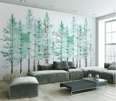 Mint Green Trees Watercolor Hand Painted Wallpaper Wall Mural, Watercolor Trees Wall Mural, High Quality Wall Mural for Home Decor Wallpaper Wall, Hand Painted Wallpaper, Custom Wallpaper, Room Photo, Tree Wall Murals, 3d Tree, Open Wall, Cleaning Walls, Watercolor Trees