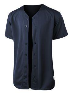 LE3NO PREMIUM Mens Full Button Down Mesh Short Sleeve Baseball Jersey