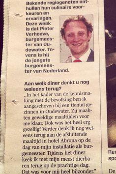 Een leuk stukje in de krant van de burgemeester