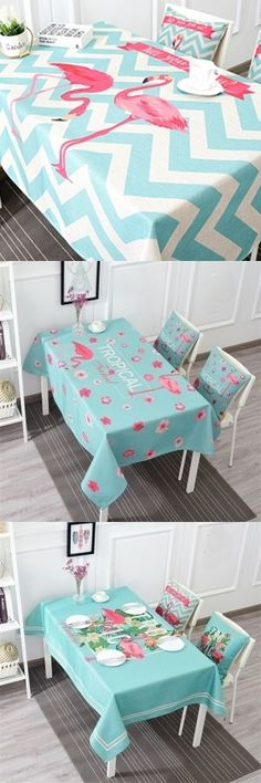 Pink Flamingo Print Cotton Rectangle Table Cloth
