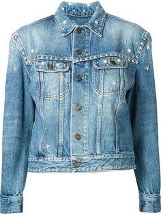 SAINT LAURENT Studded Denim Jacket. #saintlaurent #cloth #jacket: