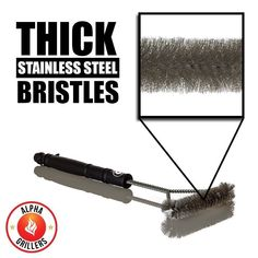 Camping Gears - Alpha Grillers BBQ Grill Brush. Stainless Steel Bristles, 18 Inch Long Tools. Best Cleaner For A Weber Barbecue *** Be sure to check out this awesome product. (This is an affiliate link) #CharcoalGrillBrick http://grillidea.com/how-to-clean-charcoal-grill/