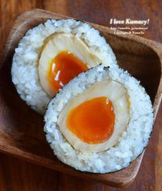 Hanjuku Tamago (Soft-boild Soy Egg) Onigiri, Not in english, but I bet I could figure it out. Saving for inspiration.