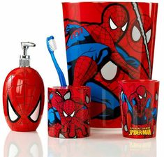 Marvel Bath Accessories, Spiderman Sense Collection - - Macy's Maybe just one item for the bathroom. Superhero Bathroom, Superhero Room, Geometric Shapes Wallpaper, Kids Bathroom Accessories, Man Bathroom, Boys Home, Man Room, Bathroom Wallpaper, Kids Room