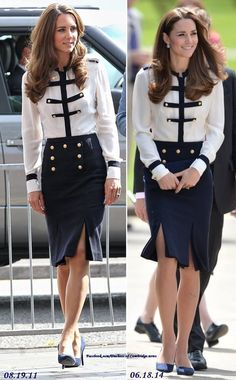 So nice she wore it twice! For today's visit to Bletchley Park, the Duchess of Cambridge wore a navy and white, military inspired outfit by Alexander McQueen. Kate first wore the skirt and blouse in August of 2011 for a visit to Birmingham