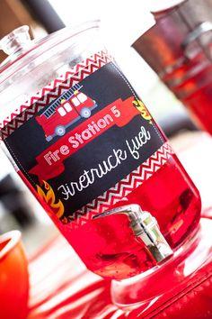 Drink + Firetruck Fuel from a Fireman Birthday Party via Kara's Party Ideas | KarasPartyIdeas.com (7)